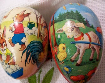 two paper mache collectable eggs