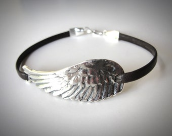 Leather Choker Angel Wing bracelet festival jewelry Flight Bird Wing Sterling Silver Angel Wing Leather Bracelet gift for her