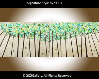 "Abstract painting brown gold green art 72"" Large wall art canvas art hand paint signature impasto Swirl tree ""Looking Up"" by QIQIGALLERY"