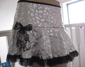 Black,white,metallic silver leopard print jersey Mini Skirt ,Hippy,-All sizes,Goth,Rock,Lolita,sequoia
