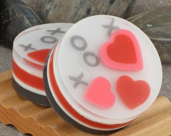XOXO Hearts Artisan Glycerin Round Soap in Pink, Red, White and Black