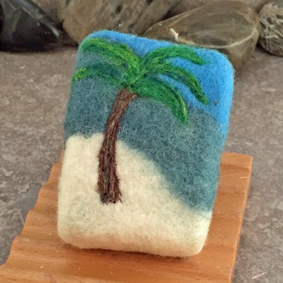 Lime Coconut Felted Glycerin Soap with a Palm by AlaiynaBSoaps