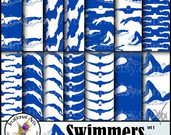 Swimmers Silhouettes Royal Blue and White set 1 - with 14 Digital Scrapbooking papers [INSTANT DOWNLOAD]