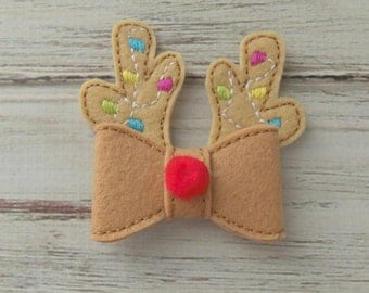 Reindeer Felt Bow Applique, Anters With Christmas Lights, Christmas Applique,  Christmas Slider for Headband