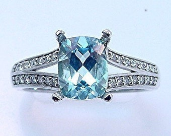 Natural AAAA Blue Aquamarine  9x7mm 1.91 Carat in 14K white gold diamond (.30ct) Engagement ring.0702 MMM