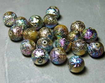 Vintage Iridescent Foiled AB Round Lucite Assorted Mixed 10mm Beads (12)