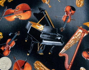 Tossed MUSICAL INSTRUMENTS Black Concerto Music Cotton Quilt Fabric by the Yard, Half Yard, Fat Quarter FQ Piano Violin