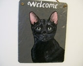 Black Cat Welcome Slate