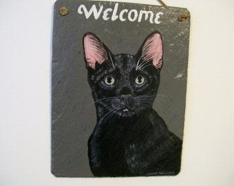 Black Cat Welcome Slate