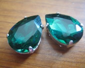Lot of 2 18x13mm Mallard Pear Shaped Chinese Rhinestone in Sew On settings