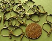 Antiqued brass  leverback earwire hoops 15x10mm, 24 pcs,  EWL 709