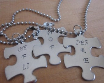 Besties For Life set of 3 puzzle pieces bff best friends friendship gift choice of charms, keychains, necklaces
