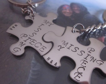 My Missing Piece puzzle pieces Keychains or charms set of two puzzle pieces with initials