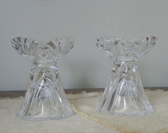 Vintage clear glass candleholders pair two cut glass lovely for ball or taper candles crystal