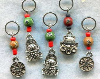 Chinese New Year Knitting Stitch Markers Lucky Money Fortune Cat Maneki Neko Set of 5 / SM18