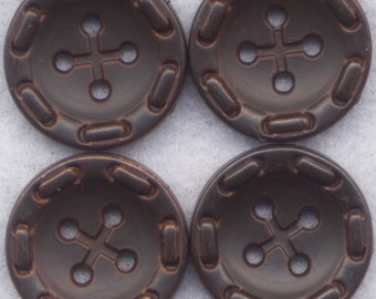Dark Chocolate Buttons Textured Acrylic Buttons 20mm (7/8 inch) Set of 8 /BT99