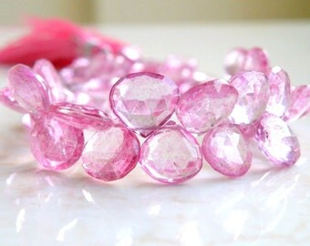 Pink Topaz Gemstone Briolette Mystic Faceted Heart Teardrop 8.5mm 14 beads