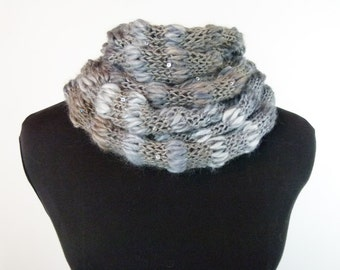 50 Shades of Cloud Hand Knit Cowl in Fluffy Acrylic/Wool Blend Item 1429