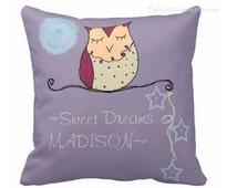 Owl pillow personalized sweet dreams pillow children kids room decor toss pillows toddler teens