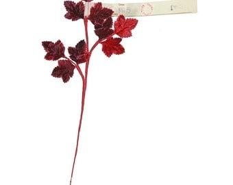 Vintage Millinery Leaves 1950s Germany Spray Red Wine Ombre Mini Velvet Maple Leaves  VL 111 RM
