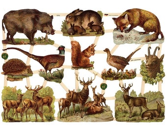 Paper Scraps Die Cut Germany Paper Lithographed Victorian Animals 7376
