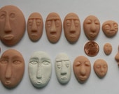 13 Polymer Clay Faces Cabs Cabochon Faces Made with Molds Great for Art Dolls  Mixed Media  Collage