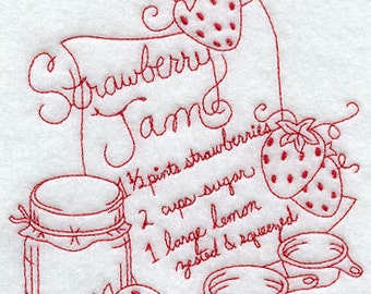 Embroidered Redwork Flour Sack Strawberry Jam Recipe Towel