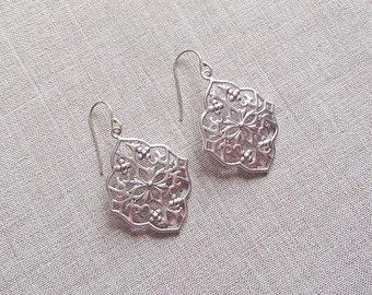 Silver Oriental Leaf Earrings