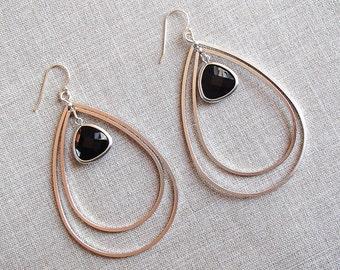 Silver Double Teardrop Earrings with Black Stone Pendant
