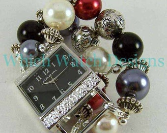 Formal Attire.. Black, Red, Gray and Cream Glass Pearl Interchangeable Beaded Watch Band, Silver Plated