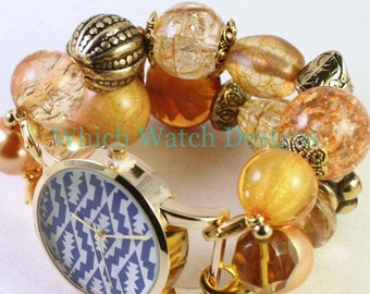 Goldenrod.. Beautiful Mustard Yellow and Gold Interchangeable Beaded Watch Band