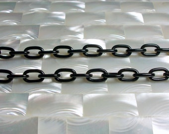 1 Foot Aluminum Chain Black GOTH Shiny Oval Link Lightweight Jewelry Chain Jewellery Supplies Fancy Simple Medium Link