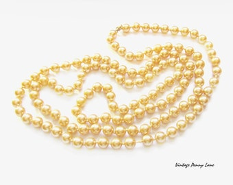 Glass Pearl Bead Necklace, Long Strand