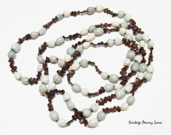 Vintage Apple Seed Bead Necklace, Handmade / Appleseed