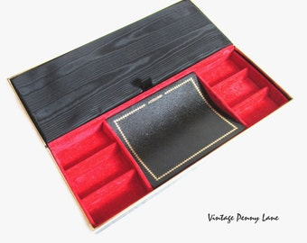 Vintage Jewelry / Jewellery Box, Black Leatherette Case
