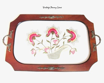 Vintage Handmade Wood Tray, Flower Embroidery / Glass