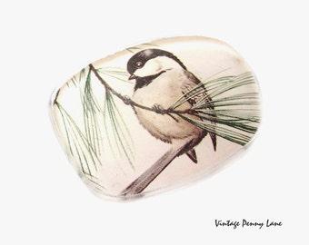 Vintage Eyeglass Lens Brooch, Chickadee Bird Pin