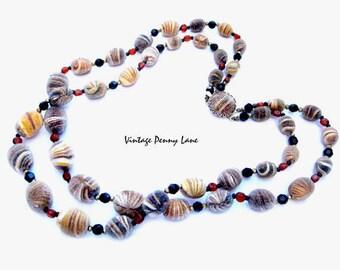 Textured Bead Necklace, Vintage Costume Jewelry