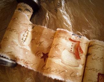 Tea dyed  Primitive Christmas Trim   - Christmas Garland - Gift Ribbon - Primitive Snowman - North Pole