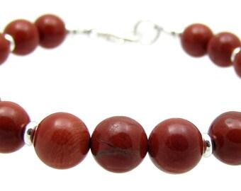 1st Root Chakra Red Jasper Gemstone Beaded Bracelet, Chakra Balancing Energy Jewelry