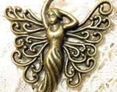 3 Antiqued Brass Winged Goddess Fairy Charm Pendant Approx. 1""