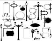 Vintage frames signs clipart - signs clip art lamp posts lamps elegant ornate flourish digital frames for collage and scrapbooking wedding