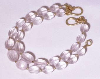 Pink Rose Quartz and Gold Single Strand Statement Bracelet GEM-B-180-RQ