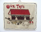 Hand Made Panel Child's Picture Book Illustration Wall, Shelf, Gift Hanger Plaque w Noahs Ark, Animals, Our Toys