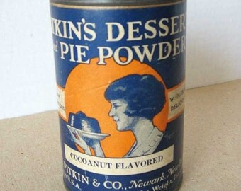 Vintage 1930's Pitkin's Dessert and Pie Powder Advertising Tin and Cardboard Container, Cocoanut, Woman w Dessert, Baker Advertising Tin