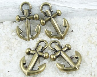 Anchor Charms - Antique Brass Charms - Brass Oxide TierraCast Anchor Drops - Bronze Charms - Beach Charms Nautical Sea Ocean (P1112)