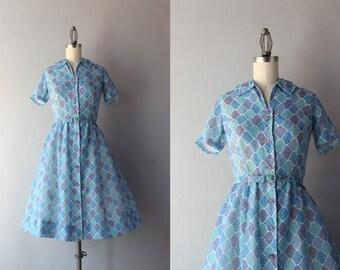 Vintage 50s Dress / 1950s Lavender Posies Dress / 50s Sheer Cotton Dress
