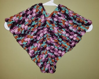 Girl's Poncho, Toddler,  12 - 24 months, with Flower and Button, made to order
