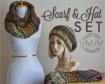 Scarf and Hat Set, Chunky Knit Infinity Scarf or Fringe Scarf and Slouchy Hat Set, Vegan Knit Set, Women's Scarf Set, Woodland Green & Brown