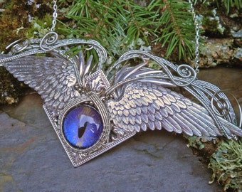Gothic Steampunk Great Wings and Purple Eye Necklace
